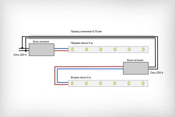 Схема подключения двух длинных лент